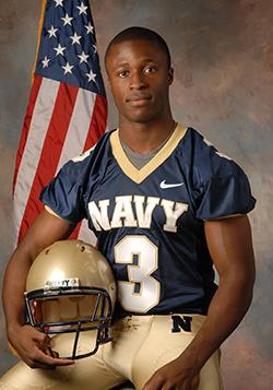 Iwuji in this Navy football uniform