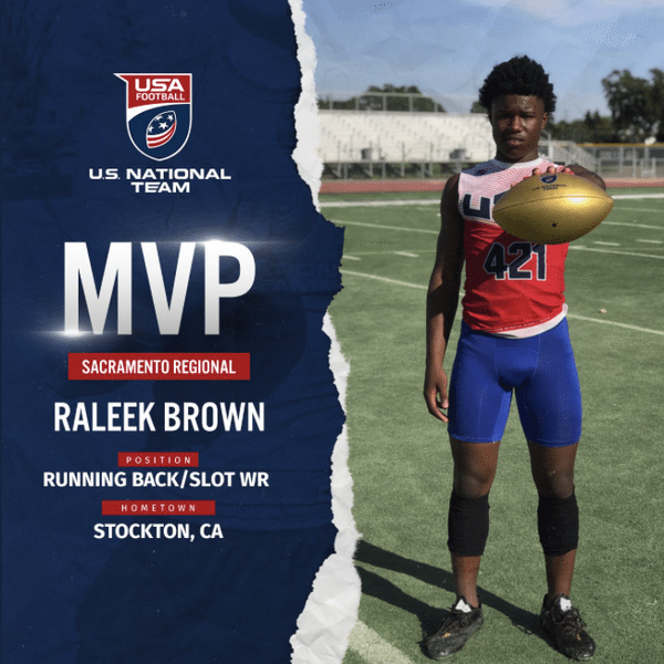 Raleek Brown USA Football Sacramento regional MVP