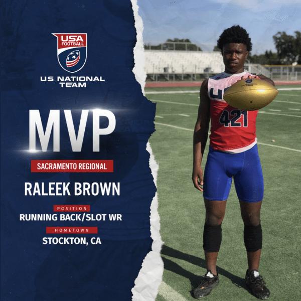 Raleek Brown USA Football Sacramento regional MVP