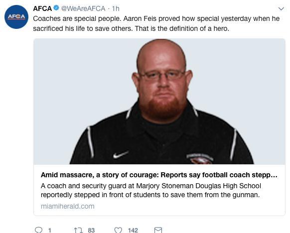 AFCA shooting tweet
