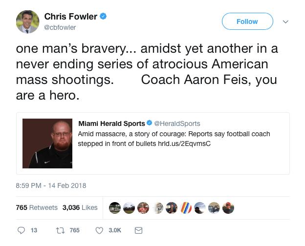 Chris Fowler shooting tweet