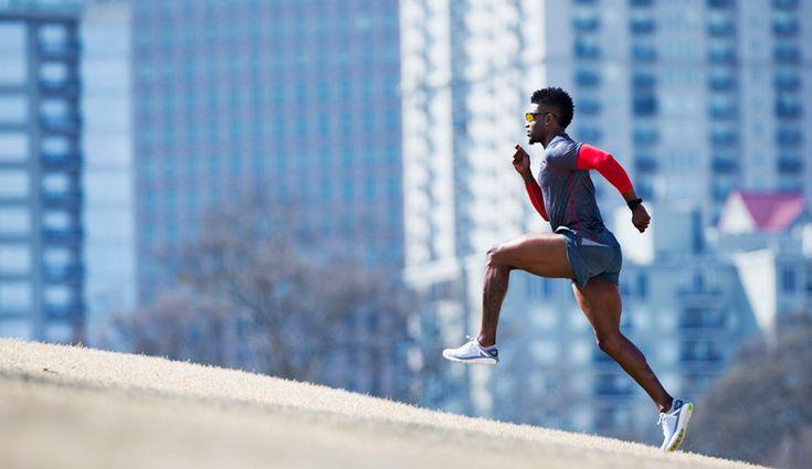 Athlete running hills