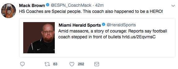 Mack Brown shooting tweet