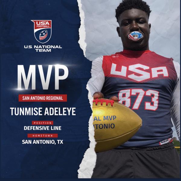 USA Football San Antonio regional MVP Tunmise Adeleye