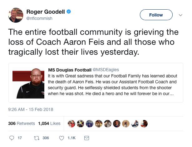 Roger Goodell shooting tweet