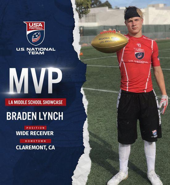 Braden Lynch USA Football Los Angeles Middle School Showcase MVP